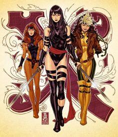 X-Men: Women speed drawing(Psylocke, Rogue, and jean Grey) by Mark Brooks Hq Marvel, Marvel Comics Art, Marvel Comic Universe, Marvel Heroes, Marvel Cinematic, Captain Marvel, Marvel Women, Marvel Girls, Comics Girls
