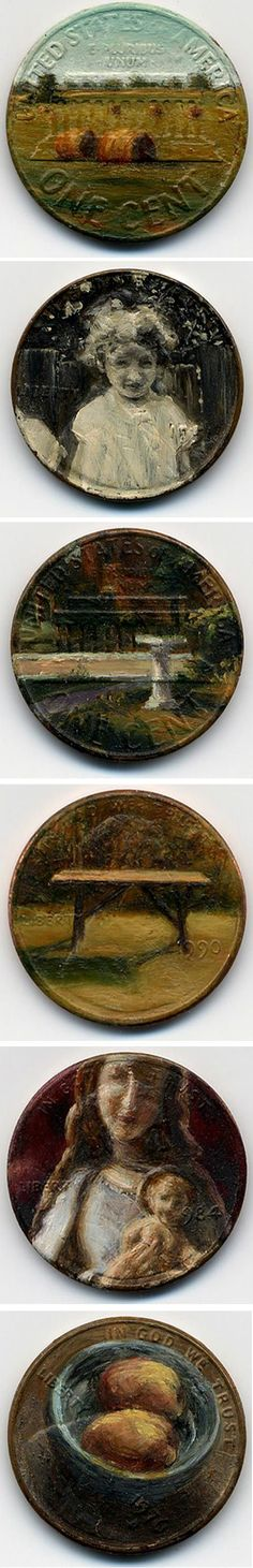 "In her series, ""Tondi observations,"" contemporary artist Jacqueline Lou Skaggs paints miniature oil paintings on the copper surface of discarded U.S. pennies. Interestingly, as she points out in her description of the series, her actions elevate the value of the coins while simultaneously defacing them."