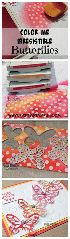 How to color the Stampin' Up! Color Me Irresistible paper and die cut colorful butterflies for your cards and crafting diy projects