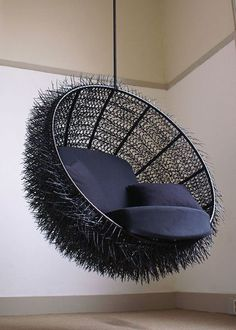 Sea Urchin Lounge Chair by oooms. This lounge chair is the ideal spot to commit your lazy sunday afternoon reading a book. The inside of the chair is Canapé Design, Chair Design, Interior Design, Creative Design, Creative Ideas, Sea Urchin Spines, Cable Tie, Cool Chairs, Lounge Chairs