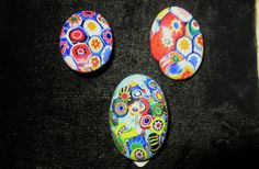 Vintage millefiori venetian glass clip back by TheInstantMemory