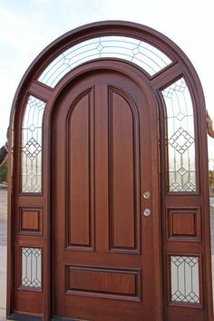 Solid Mahogany Round Top Exterior Doors in Solid Brazilian Mahogany pre-finished in a Walnut Tone to show the beauty of the grain. White Wooden Doors, Wood Doors, Round Top, House Entrance, Exterior Doors, House Design, Woodcarving, Mirror, Brown