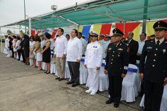 El mandatario estuvo acompañado por el alcalde Alberto Silva Ramos, durante la Ceremonia de Entrega de Mando de Armas de la Fuerza Naval del Golfo y Primera Región Naval