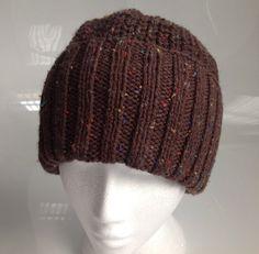 Mens Brown Fleck Aran Beanie Hat in Half Fisherman's by sewmoira, £10.00