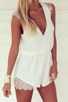 White Lace Splicing Deep V-neck Sleeveless Chiffon Jumpsuit