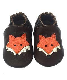 Another great find on #zulily! Dark Brown & Orange Leather Crib Shoe #zulilyfinds