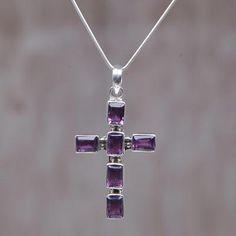 Amethyst cross necklace, 'Violet Light' - Amethyst Sterling Silver Cross Necklace