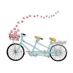 Tandem XO  tandem bike love card  valentine card by rachelink on etsy.