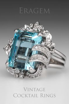 Clearly aquamarines are one of the most beautiful things on earth.  When mounted in a vintage cocktail ring there are no words to describe it. So please just enjoy the image.