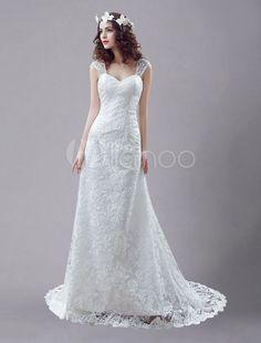 Vestido de noiva branco casamento vestido rainha Anne Mermaid Lace sem encosto