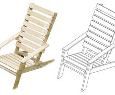 This Adirondack chair was built from just one pallet! Download the Google SketchUp model here. Here's how to make splendid material-efficient pallet furniture: 1. Scavenge: Pallets are everywhere. Some are ...