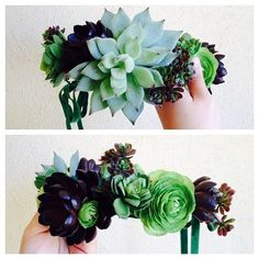 DIY Succulent Crown.  Create your own with artificial succulents from Afloral.com. Design: Graceful Gardens Floral