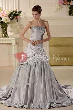 Aライン/プリンセスストラップレスシャーリングカラーウェディングドレス