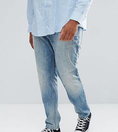 ASOS PLUS Stretch Slim Jeans In Mid Wash Vintage With Abrasions - Blue