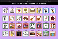 TABLERO DE COMUNICACIÓN PARA ARABOARD: Fiestas del Pilar.    Descripcion:  Tablero de 32 casillas (8x4) del comunicador AraBoard sobre las Fiestas del Pilar de Zaragoza.    http://www.catedu.es/arasaac/materiales.php?id_material=763    Descargar AraBoard versión PC:  http://giga.cps.unizar.es/affectivelab/araboard.html    Descargar AraBoard versión Android desde Google Play.