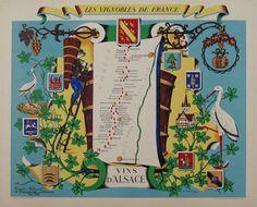 #poster #posters #originalposter #art #vintageposter Les Vignobles De France - Vins D' Alsace by R. Hetreau from 1954 France (26 1/2 x 32 5/8 in.)