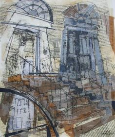 Scotland Street, New Town Collage with Monoprint and Wax, 2014 (made using 44 Scotland Street by Alexander McCall Smith)