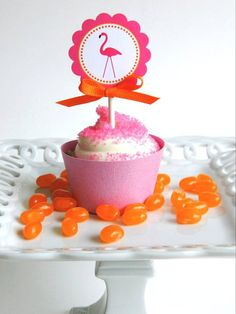 PInk Flamingo Birthday Party - 20 Cupcake Toppers - Pink and Orange on Etsy, $15.50