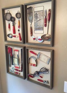 Idea for displaying vintage kitchen utensils