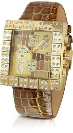FORZIERI Cheope - Croco Stamped Patent Leather Dress Chrono Watch