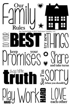 Technique Tuesday - Clear Acrylic Stamps - Our Family Rules Ali Edwards, Silhouette Cutter, Journal Prompts, Journal 3, Family Rules, Card Sentiments, Simon Says Stamp, Vinyl Crafts, Scrapbook Stickers