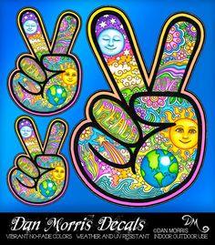 Hand ✌Peace Sign Vinyl Decal by Dan Morris by DanMorrisArt