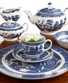 "Johnson Bros. ""Willow Blue"" Dinnerware Collection - Casual Dinnerware - Dining & Entertaining - Macy's"
