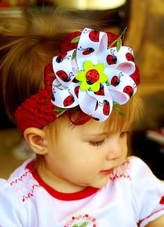 Lady bug Hair bow...baby hairbow...red, black, white, Lady bug bow....baby hair bow for infant, toddler, and big girls...infant head band. $10.99, via Etsy.
