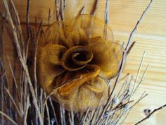 CLIP CORSAGE PINCE CHEVEUX ROSE bronze ORGANSA fleur artificielle LUXE