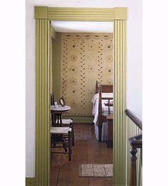 Door casings are both decorative and utilitarian, enhancing the look of the door while also concealing the transition between the wall and the jamb. Victorian-era designs from the late 1800s were often made from fluted boards butted up against corner blocks, which were either plain or had carved details. These casings were symmetrical, meaning that the boards were the same thickness on the inside edge as the outside, with a uniform pattern across their faces.