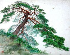 (North Korea) Pine tree by An Sang-mok (1928- 1990). Korean brush watercolor. 안상목.
