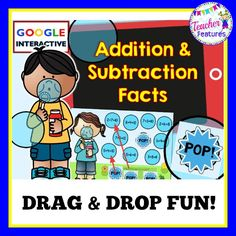 *Google Classroom* This no prep, interactive Google Slides pack focuses on addition sums and subtraction differences. Use the 8 slides to teach or review facts. Each slide contains 4 equations that do not belong. Students need to drag & drop the POP! bubbles over the incorrect equations and type the 4 incorrect equations into the text box. #tptdigital
