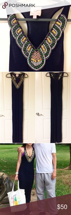 Navy Blue Beaded Neck Full Length Maxi Dress Worn once as shown in photo! Sexy V-Neck Plunge with beaded necklace. NO TRADES!!  Romeo & Juliet Couture Dresses Maxi