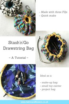 Sewing Fabric Flowers Tutorial for the StashnGo drawstring bag by fabricandflowers Drawstring Bag Pattern, Drawstring Bag Tutorials, Small Drawstring Bag, Sewing Patterns Free, Free Sewing, Sewing Hacks, Sewing Tutorials, Sewing Tips, Sewing Ideas
