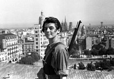Marina Ginesta, a 17-year-old communist militant, overlooking Barcelona from Hotel Colón during the Spanish Civil War, July 1936