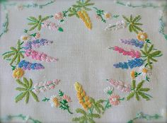 Check out this item in my Etsy shop https://www.etsy.com/uk/listing/519412604/vintage-hand-embroidered-lupins-linen