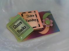 SHARE+BOOKS+Reading+Green+Orange+&+Purple+Flower+Book+Pins+by+Lucinda+Brooch+–++