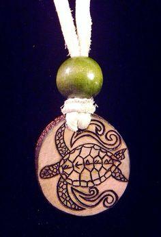 ATWA Sea Turle AtWar woodburned pendant necklace by DesertRoseATWA