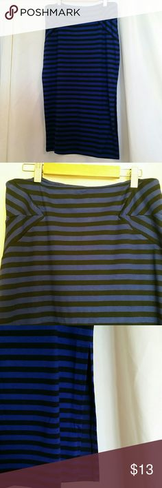 """NWOT Black and blue Striped pencil skirt Cute super stretchy pencil skirt that has cobalt blue and black stripes. Brand new without tags.  APPROX MEASUREMENTS  Waist, laid flat : 15"""" (with lots of stretch) Length: 29"""" Slit: 13"""" basic editions Skirts Pencil"""