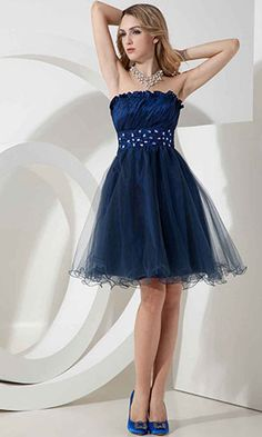 Strapless Blue Cheap Short Taffeta and Tulle Prom Dresses KSP299 Blue Homecoming  Dresses d34f60e54