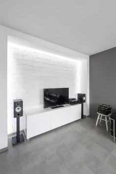 Unterhaltung Konsole Die Speicherung In Kaktus Ein Schwarz Weiss Wohnzimmer Gestaltung Wohnung Minimalistischen