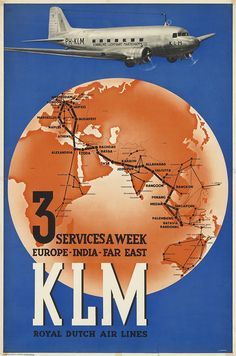 KLM Poster / 3 Services a Week Europe-India-Far East / 1938