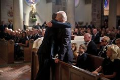 "June 6, 2015 ""The President hugs Vice President Joe Biden after delivering a eulogy during the funeral mass for Beau Biden at St. Anthony of Padua Catholic Church in Wilmington, Del."" (Official White House Photo by Pete Souza) This official White House photograph is being made available only for publication by news organizations and/or for personal use printing by the subject(s) of the photograph. The photograph may not be manipulated in any way and may not be used in commercial or…"