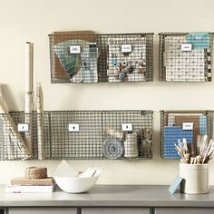 Storage solution - Links to many wire baskets for sale!  Love this look.