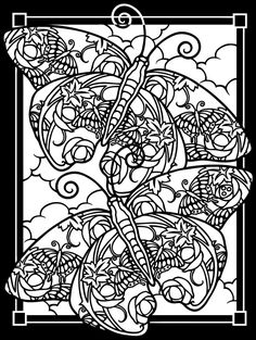 Free coloring page coloring-adult-difficult-two-butterflies-black-background. Difficult coloring picture of butterflies, enhanced by a black background