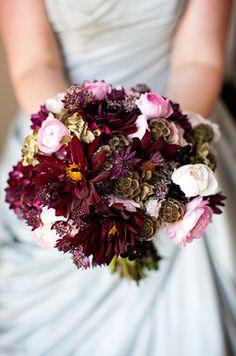 burgundy dahlia bouquet 275x415 Flower Inspiration: Dahlias