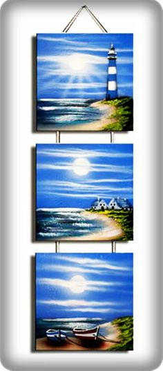 Use mini canvases and ribbon/cord Pictures To Paint, Art Pictures, Art Plage, Images D'art, Acrilic Paintings, Lighthouse Painting, Creative Artwork, Beach Art, Acrylic Art