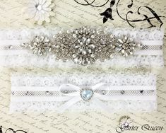 Wedding garter set Ivory stretch lace Bridal Garter by GarterQueen