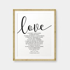 SALE Love is patient Love is kind 1 Corinthians by PrintableSky