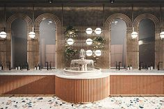 I really like the fancy design of this restaurant bathroom. it's really pleasing to the eye. Retail Interior Design, Restaurant Interior Design, Commercial Interior Design, Commercial Interiors, Restaurant Interiors, Lobby Interior, Restaurant Bad, Restaurant Bathroom, Luxury Restaurant